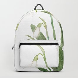 white snowdrop flower watercolor Backpack