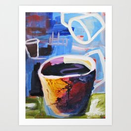 Coffee Geek Cup Blue Green White Yellow Contemporay Art Art Print