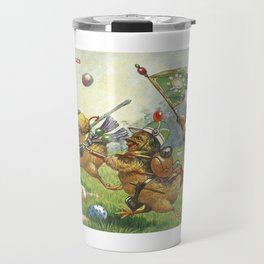Easter chicks at War charging across field amid toy cannon fired brightly colored Easter eggs Travel Mug