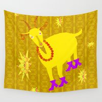 goat Wall Tapestries featuring Golden Goat by Vitta