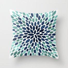 Flower Bloom, Aqua and Navy Throw Pillow