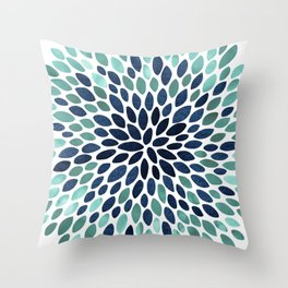 Flower Bloom, Aqua and Navy Throw Pillow