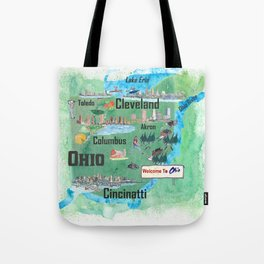 USA Ohio State Illustrated Travel Poster Map with Touristic Highlights Tote Bag