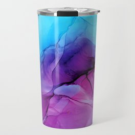 Aqua Pop - Alcohol Ink Painting Travel Mug