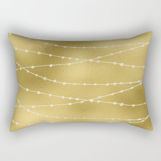 Merry christmas- white winter lights on gold pattern Rectangular Pillow