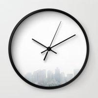 boston Wall Clocks featuring Boston by Delphine Comte