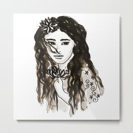 Long hair, holding onto her lotos flower, longing for something she can't quite explain.... Metal Print
