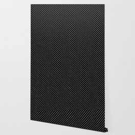 Mini Licorice Black with White Polka Dots Wallpaper