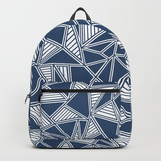 Abstract Outline Lines Navy Backpack