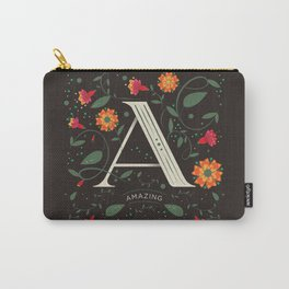Letter A - flower initial letter Carry-All Pouch