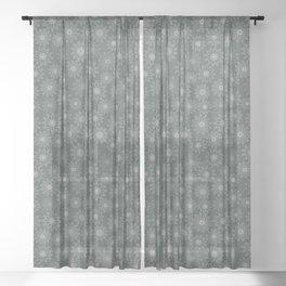 Geometrical floral design in metal green tints Sheer Curtain