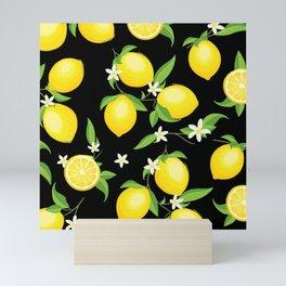 You're the Zest - Lemons on Black Mini Art Print