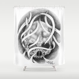 Swirly Skull Shower Curtain