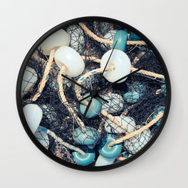 Mixed up fishnet with rope and lot of buoys Wall Clock