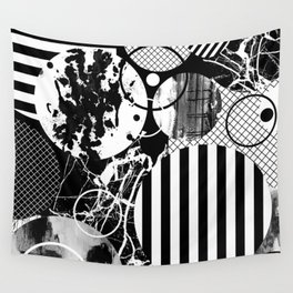 Black And White Choas - Mutli Patterned Multi Textured Abstract Wall Tapestry