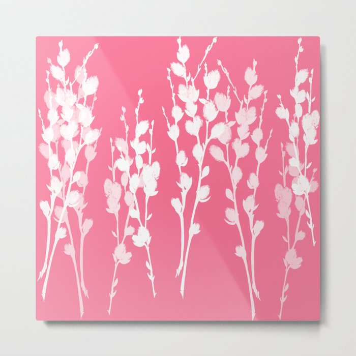 Big Azalea Pink Pussywillow Silhouettes Metal Print