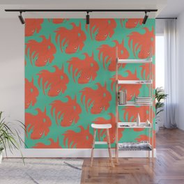 Red Koi Pattern Wall Mural