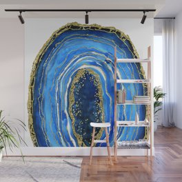 Cobalt blue and gold geode in watercolor (2) Wall Mural