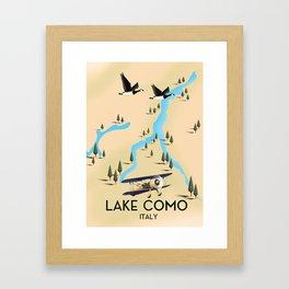 Lake Como Italy Travel Poster. Framed Art Print