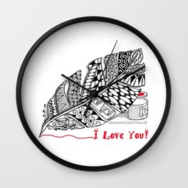 I Love You feather pen Wall Clock