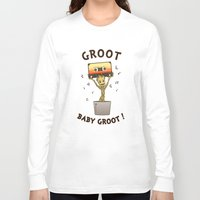 groot Long Sleeve T-shirts featuring Groot, Baby Groot! by Andrew Sebastian Kwan