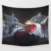 wolves Wall Tapestries featuring Wolves by Yanin Ruibal