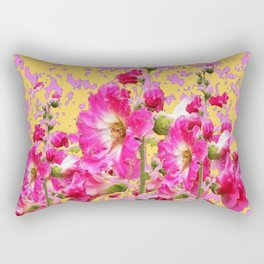 Modern Art Fuchsia Pink Colored  Hollyhocks Pattern Rectangular Pillow