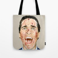 american psycho Tote Bags featuring American Psycho by JackyAttacky