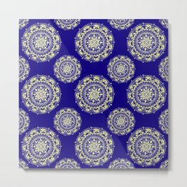 Royal Blue and Gold Patterned Mandalas Metal Print