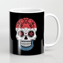 Sugar Skull with Roses and Flag of The Netherlands Coffee Mug