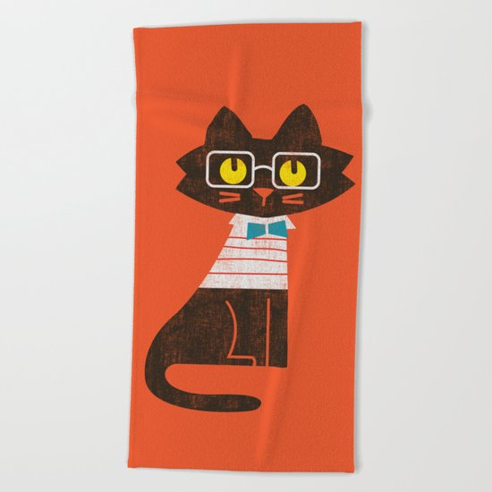 Fitz - Preppy cat Beach Towel
