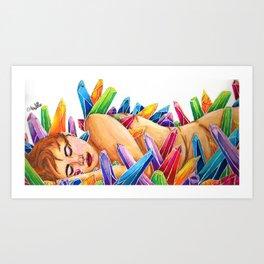 Sleeping Among The Crystals Art Print