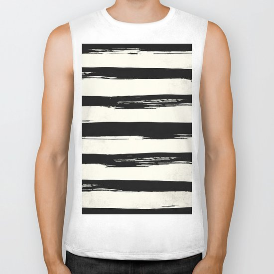 Tribal Paint Stripes Black and Cream Biker Tank
