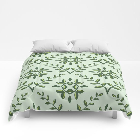 Green Olive Branch Pattern Comforters
