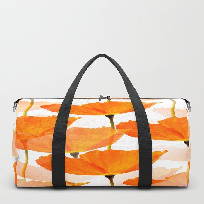 Orange Poppies On A White Background #decor #society6 #buyart Duffle Bag