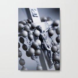Blue toned Jesus rosary Metal Print