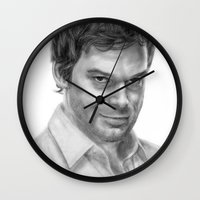 dexter Wall Clocks featuring Dexter by robo3687