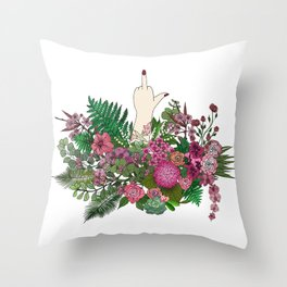 Botanical Bird Bouquet Throw Pillow