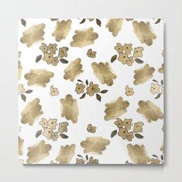 Modern white faux gold brushstrokes floral pattern Metal Print