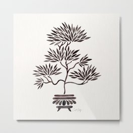 Bonsai Tree – Black Palette Metal Print