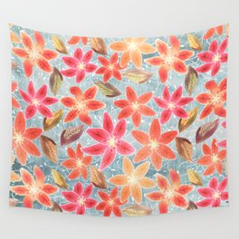 Cute Lilies and Leaves Wall Tapestry