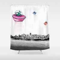 aliens Shower Curtains featuring Aliens by Take F1ve
