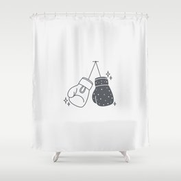 Boxing gloves night and day Shower Curtain