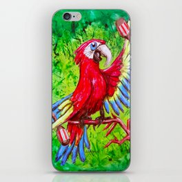 Tropical Parrot with Maracas  iPhone Skin
