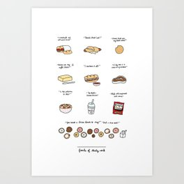 Foods of 30 Rock Art Print