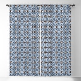 Blue Tiles Blackout Curtain