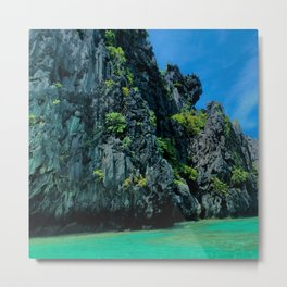 Ocean Rock Formation and Blue Green Waves Metal Print