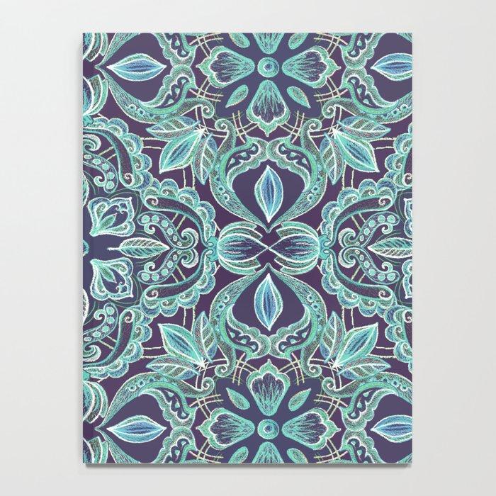 Chalkboard Floral Pattern in Teal & Navy Notebook