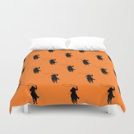 Cowgirl Roper Silhouette Pattern Duvet Cover