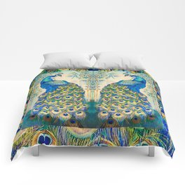 Blue Peacocks Comforters